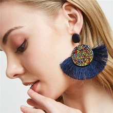 Bohemian Crystal Tassel Earrings For Women Fashion Charm Earings Female Wedding Bridal Statement Drop Earring with Stones