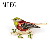 MIEG Brand New Arrival Colorful Enamel Bird on Branch Brooch Fashion Jewelry Accessories цена 2017