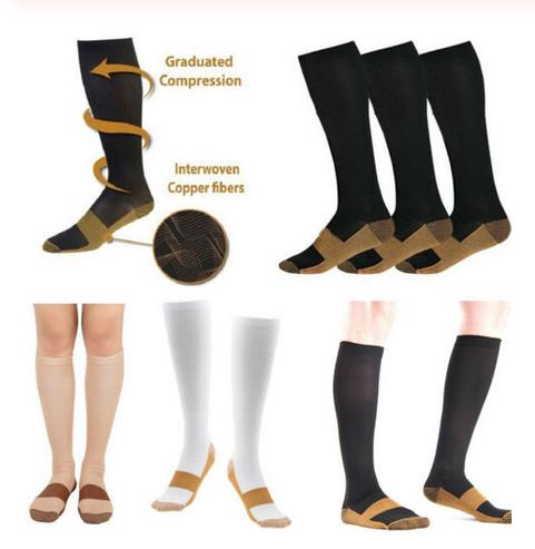 2019 Anti-fatigue Copper Infused Compression Socks 20-30mmHg Graduated Men Women Patchwork Long Socks S-XXL Compression Socks