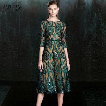 wei yin New Banquet Elegant Green Evening Dress Vintage Sequins Appliques Shining Long Prom Formal Gown Vestidos De Fiesta - discount item  50% OFF Special Occasion Dresses