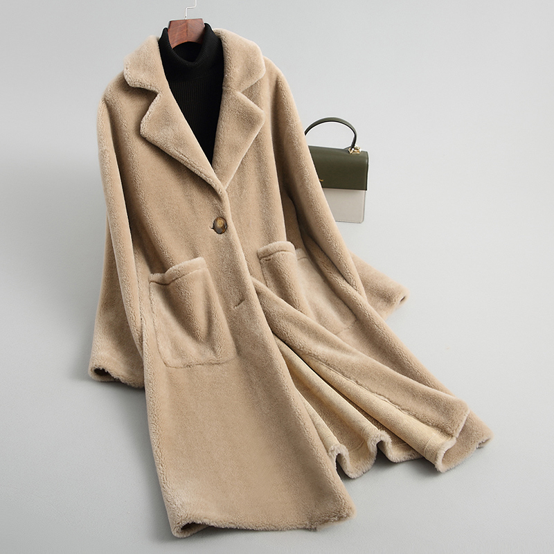 Shearing Sheep Women Coats 2020 Real Wool Fur Coat Female Thick Warm Winter Jacket Women Outerwear WYQ2054
