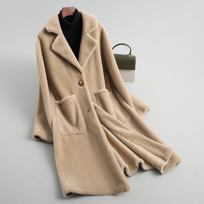 Shearing Sheep Women Coats 2020 Real Wool Fur Coat Female Thick Warm Winter Jacket Women Outerwear WYQ2054