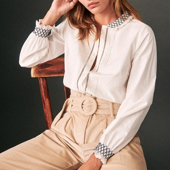 Shirred Embroidery Blouse Women Summer Autumn Cotton Long Sleeve Ruffle Chic Elegant Shirts Office Lady Casual Tunic 2020