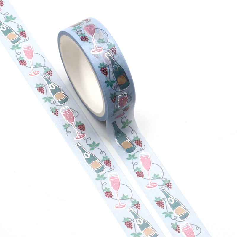 New 1PC Champagne Silver Foil Washi Tape Rice Paper DIY Planner Scrapbooking Adhesive Masking Tape 1.5cm*10m Stationery