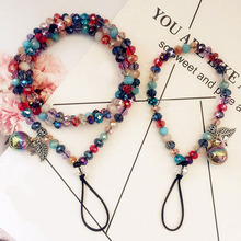 Womens phone lanyard hanging neck crystal colorful mixed phone hanging neck rope crystal key chain badge sling universal Straps