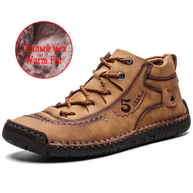 US $13.15 46% OFF|UEXIA zimowe męskie botki wygodne grube pluszowe ciepłe męskie śniegowe buty Split skóra jesień Outdoor Man motocyklowe obuwie w