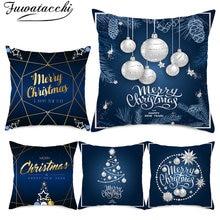 Чехол для подушки на Рождество fuwatacchi украшение дома синий