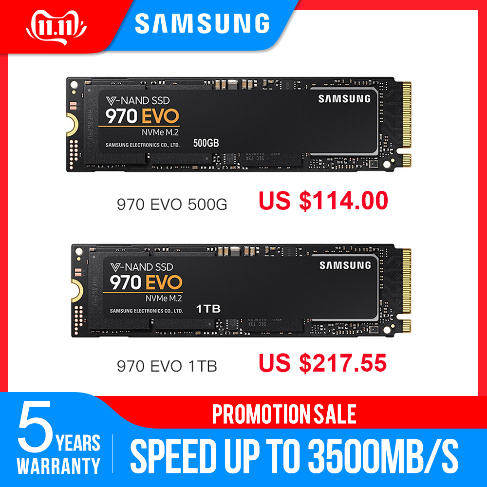Samsung 970 EVO M.2 SSD 500GB 1TB Nvme Internal Solid State Disk Internal Solid State Drive TLC PCIe 3.0 X4 NVMe 1.3 Laptop