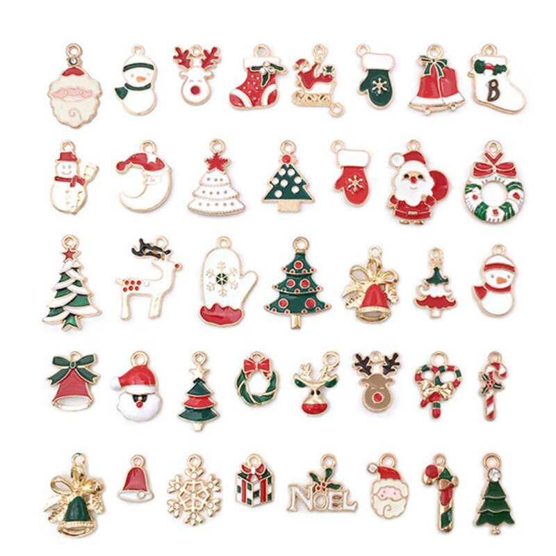38PCS Christmas Charms Pendant Enamel Alloy Mixed Jewelry DIY Making Crafts