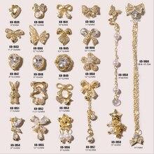 5 шт./лот, сплав элегантной формы с кристаллами циркона для 3D-дизайна ногтей, стразы для украшения ногтей