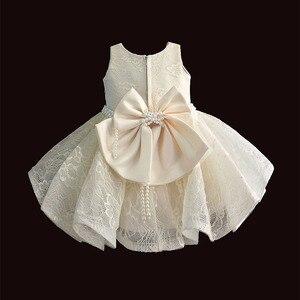 Image 2 - Baby Meisje Kleding 1st Verjaardag Meisjes Tutu Jurk Parel Riem Doop Avond Party Gown Prinses Kinderen Jurken Voor Meisje 6 12 18 36M