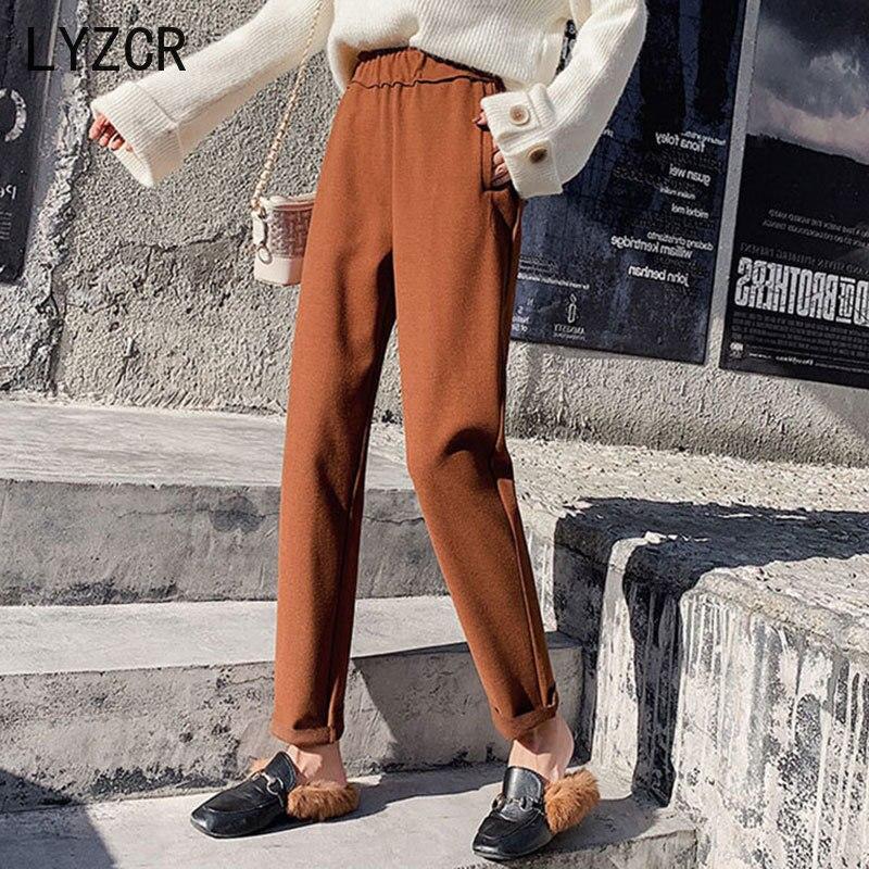 LYZCR Winter Wool Women's Pants 2020 Warm High Waist Wool Pants For Women Plus Size Woman Office Pant Beige Trousers Capris