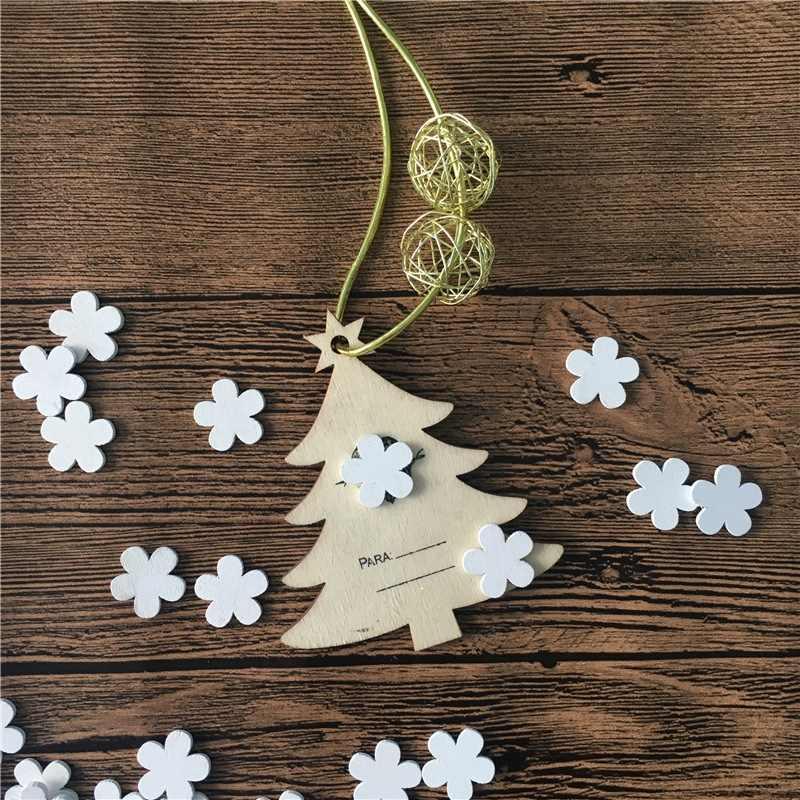 100 sztuk dekoracje kwiat/kształt serca białe drewno niedokończone forniry plastry świąteczne ozdoby DIY rzemiosło domu Xmas Party