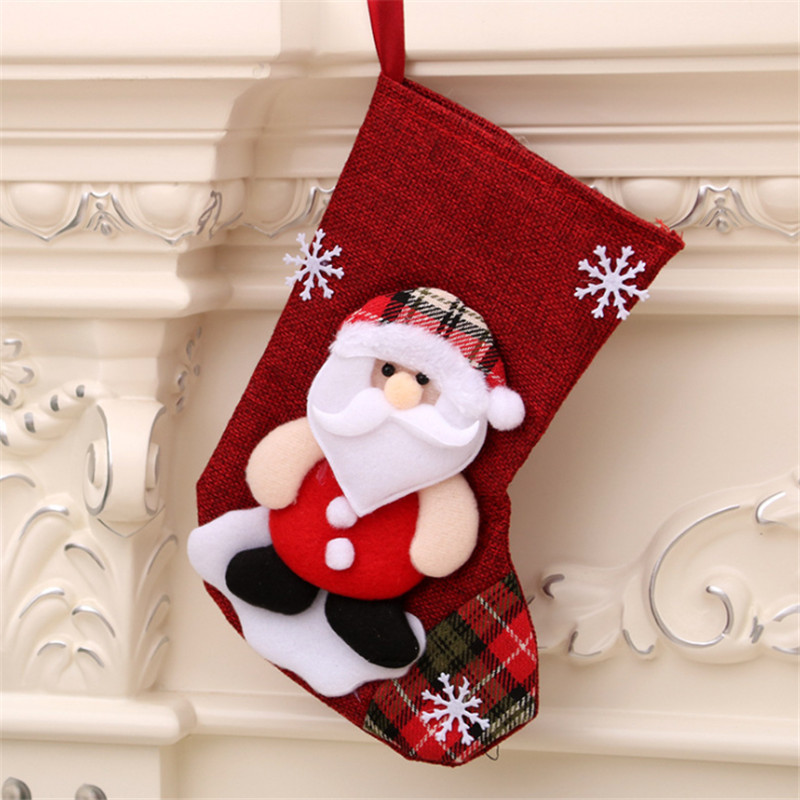 Christmas Stocking Mini Sock Santa Claus Candy Gift Bag Xmas Tree Hanging Decor Christmas Winter Décor Home Garden
