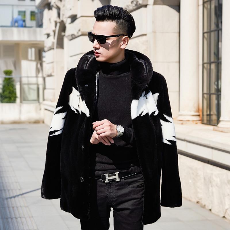 Natural Mink Fur Coat Men Winter Jacket Hooded Real Fur Coat Fashion Warm Luxury Mens Mink Jackets 2020 KJ3309