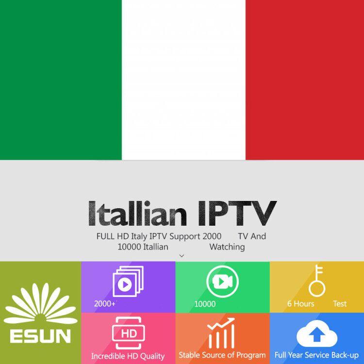 Italy IPTV Italia 1/3/6/12 Month Esun Europe IPTV V88 Support Android M3u Enigma2 And Tvonline TVIP 6000+ XXX Supported