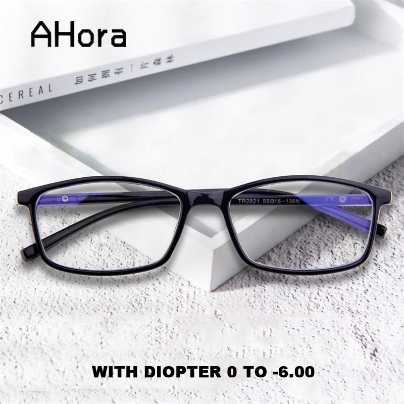 Ahora basit kare bitmiş miyopi gözlük erkekler kadınlar Anti mavi ışık gözlük optik çerçeve Diopter 0 to -6.0 bilgisayar gözlük
