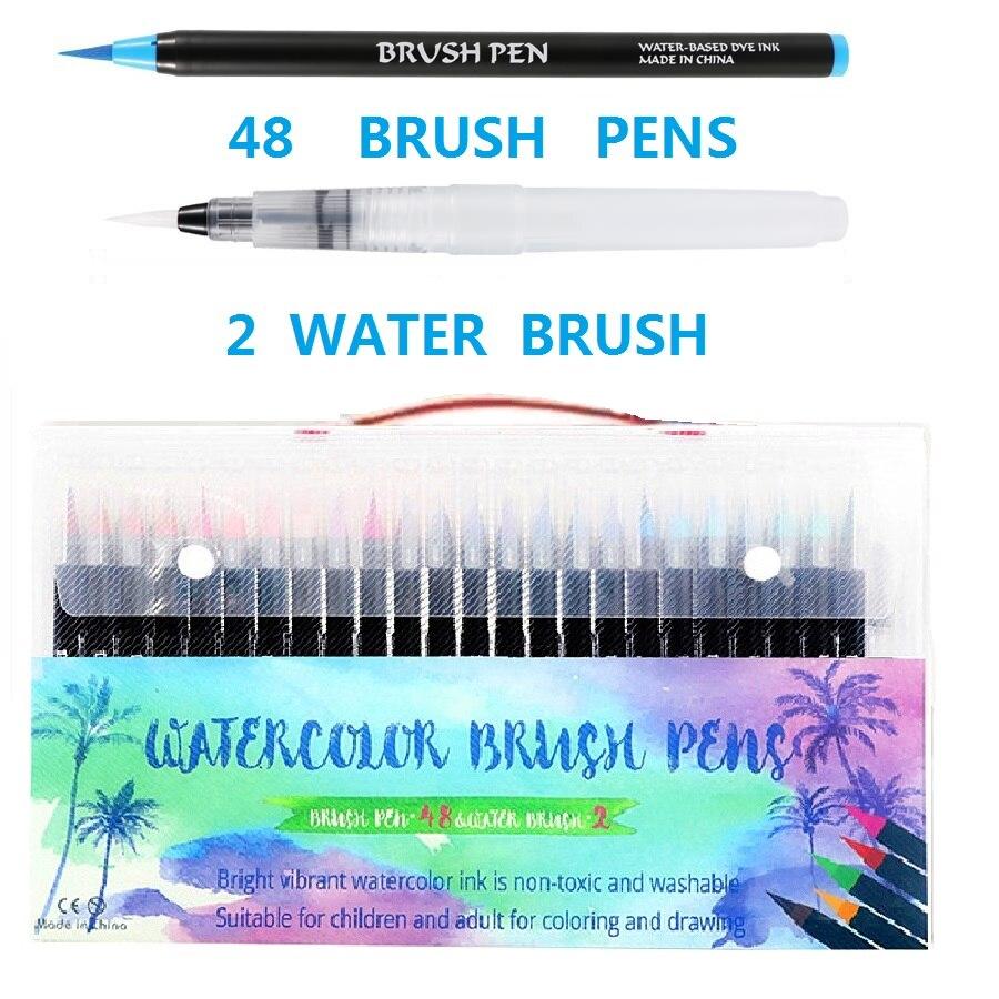12/20/24/48/72 Colors Markers Set Drawing Water Felt Tip Brush Pen Sketching Student Watercolor Brush Marker School Art Supplies