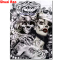 full square/round diamond embroidery Crown Skull Couples,5d diy diamond painting lover,mosaic puzzle 3d rhineston arts,