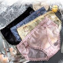 Roseheart Women Fashion Pink Blue Cotton Bottom Lace Mesh Low Waist Panties Underwear Lingerie Sexy Briefs Underpants