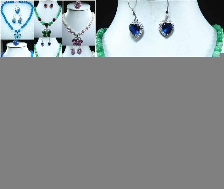 Jóias 00513 10 cor-fantasia verde/azul/rosa pedra pérola colar borboleta pingente brinco conjunto pode escolher (a0516)