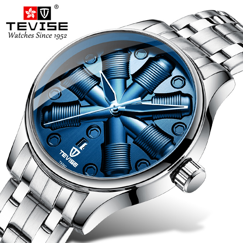 Tevise Automatic Mechanical Watches Men Creative Dial Watch Business Top Brand Sport Wristwatch For Male Watch Relogio Masculino in Mechanical Watches from Watches