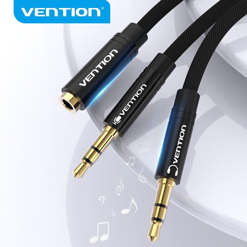 Vention Splitter наушников аудио кабель для компьютера 3,5 мм Женский до 2 Мужской 3,5 мм Mic аудио Y Splitter кабель для подключения к ПК
