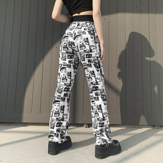 Streetwear gothic pants with comic patterns