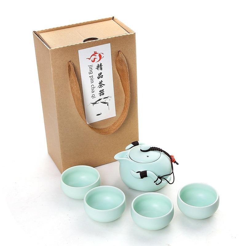 Embed Life Outdoors Portable Travel Teapot Set With 4 Mini Cups Porcelana Japanese Tea Set Gaiwan Kung Fu Tea Ceremony Set