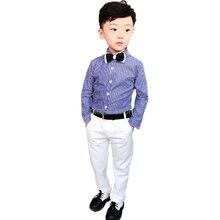 Flower Boys Formal Suit Kids Wedding Shirt +Pants 2PCS Clothing Set Children Performance Chorus Prom Party Dress Costume