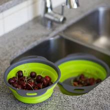 Складной силиконовый дуршлаг для фруктов и овощей, сетчатый фильтр для мытья, корзина, складной осушитель, аксессуары Kichen