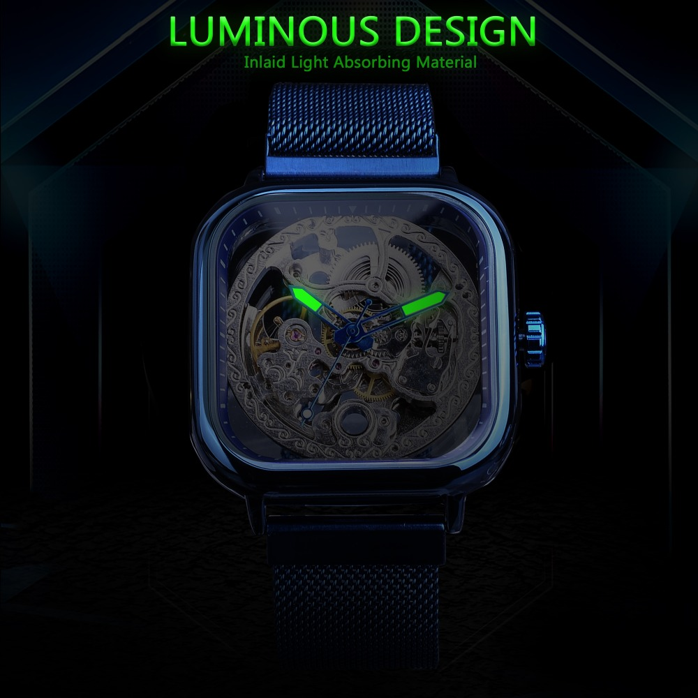 Hc08a2a88115842c98b1a3036bff73286Y Forsining Blue Watches For Mens Automatic Mechanical Fashion Dress Square Skeleton Wrist Watch Slim Mesh Steel Band Analog Clock