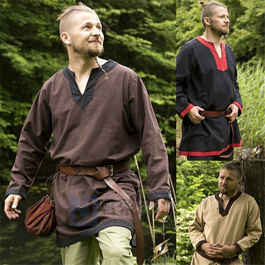 2020 Medieval Linen Larp Viking Pirate Halloween Cosplay Costumes For Men Carnival Party Warrior Shirt Knight Celtic Blouse Robe