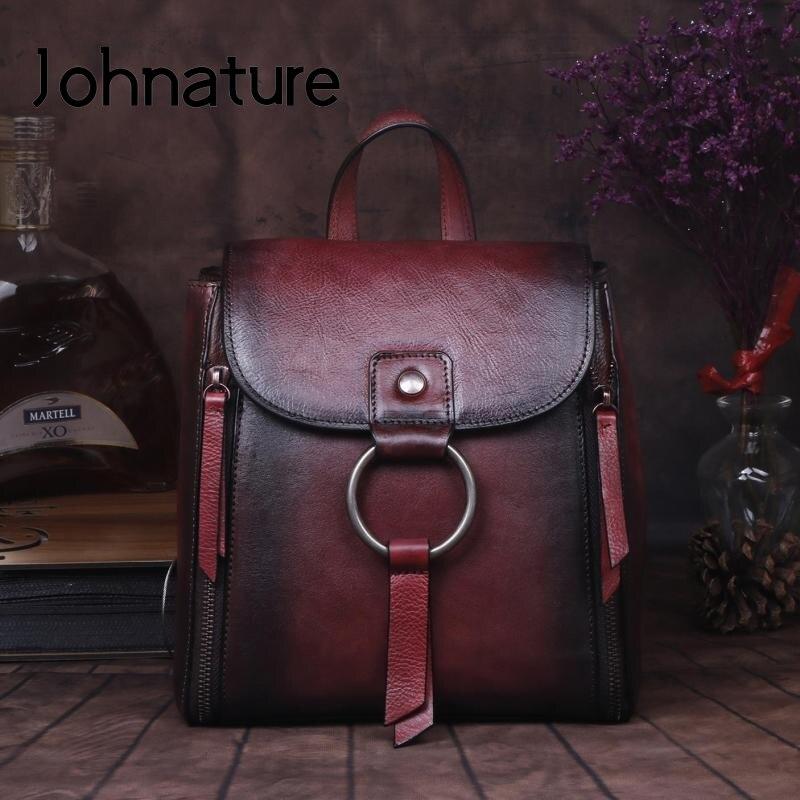 Bolsa de Ombro Artesanal do Vintage Johnature Alta Qualidade Couro Genuíno Feminina Mochila 2020 Novo Viagem Pequena