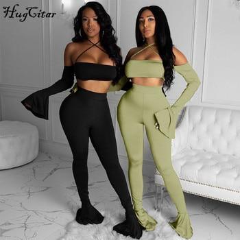 Hugcitar 2020 Long Flare Sleeve Halter Slash Neck Sexy Crop Top Leggings 2 Pieces Set Autumn Winter Women Tracksuit