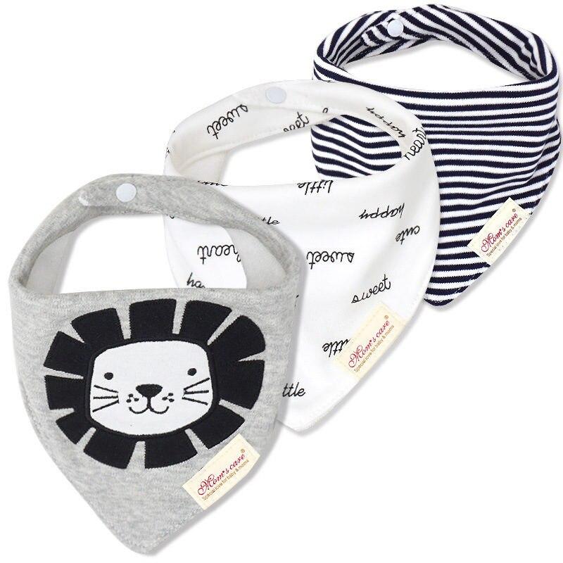 3pcs/lot Baby Bibs Cartoon Printing Cotton Newborn Infant Girls Boys Toddler Triangle Scarf Bandana Baby Accessory