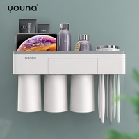 Bathroom Shelf Toothbrush Holder Wall Mounted No Drilling Magnetic Adsorption Suspension With Cup Dustproof Phone Holder