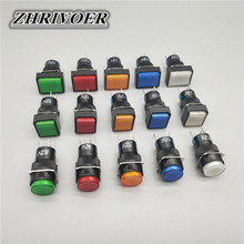 16mm LA16-11D LED Push Button Switch  Self-locking/Latching Self-reset/Momentary 5 Pin 5A/250VAC Blue Green Red Yellow White 10pcs white red green blue black yellow panel mount 10mm momentary off on push button switch upper screw thread