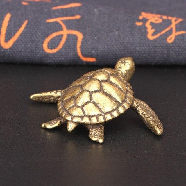 Mini Cute Brass Tortoise Vintage Turtle Statue Metal Figure Props Animal Sculpture Home Office Desk Decorative Ornament Toy Gift 6