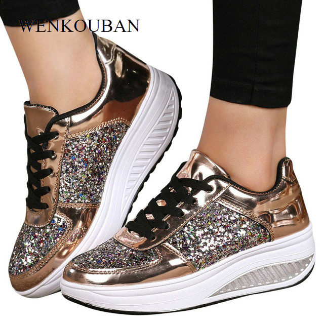 Chunky Sneakers Women Wedge Shoes Sequins Trainers Ladies Paillette Platform Sneakers Fashion Tenis Feminino Zapatillas Mujer
