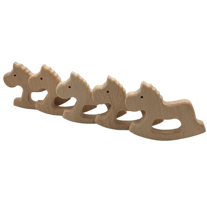 1Pc DIY Cartoon Animals Pony Shape Baby Wooden Teether Food Grade Beech Pacifier Chain 3C Certification Wooden Baby Teether Toys