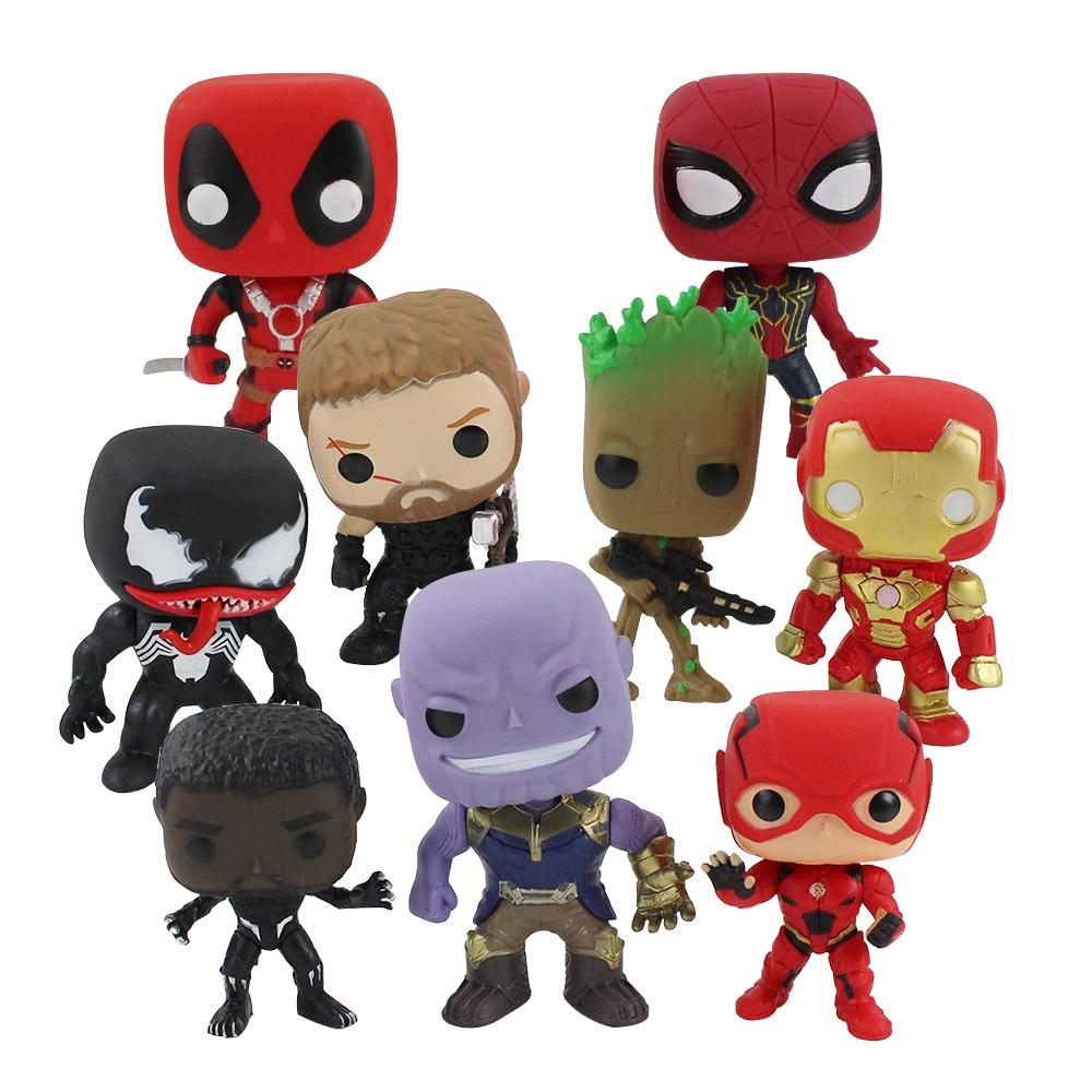10-14cm-font-b-marvel-b-font-dc-deadpool-black-panther-spiderman-thor-treen-man-thanos-venom-iron-man-flash-pvc-figures-toys-9pcs-set