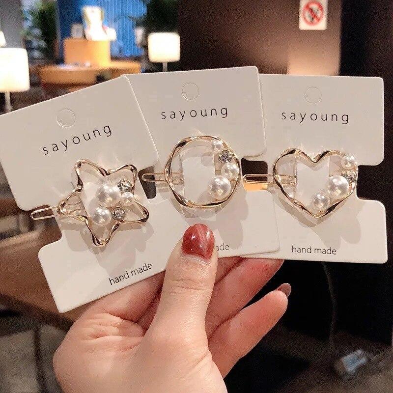 New Korean Style Pearl Hairpins Women Barrettes Geometric Hair Clips Girls Hair Accessories Hair Grip Headwear BB Clips