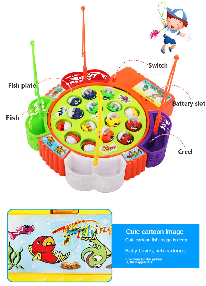 Music Electric Rotating Fishing Game Toy