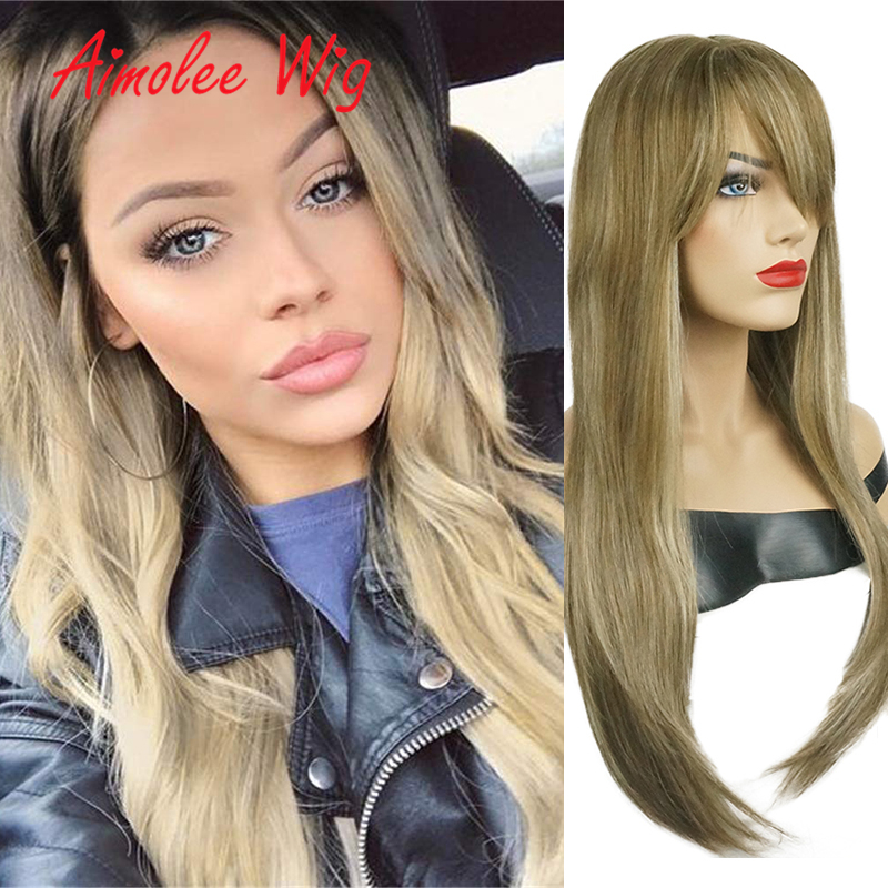 24Inch Long Natural Straight Wig with Bangs Human hair Blend Wig Synthetic Ombre Brown Blonde Highlight Black Women Wig