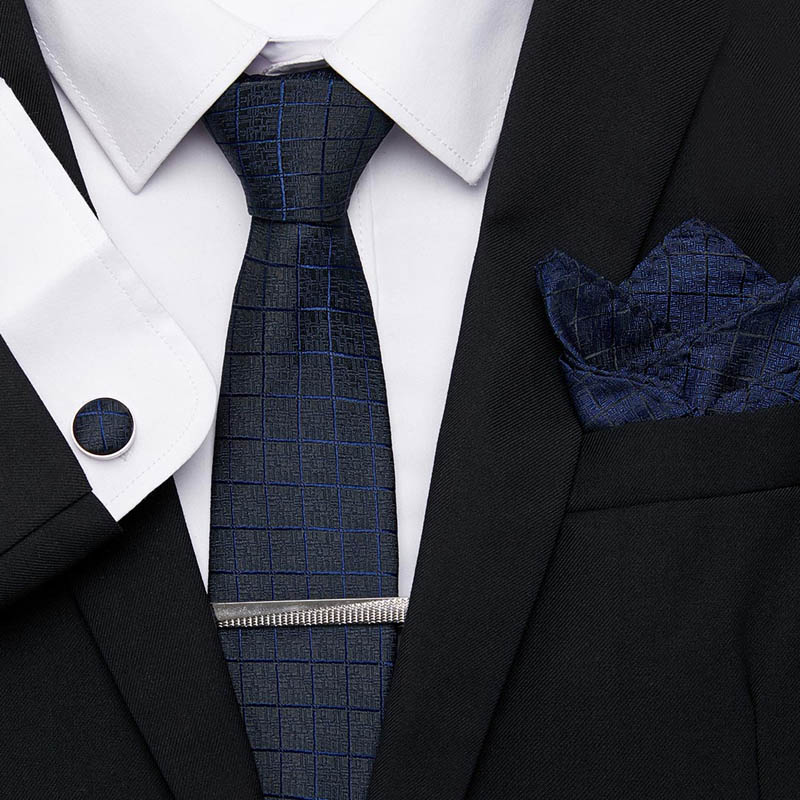Men's Party Wedding Narrow Skinny Neck Tie Solid Silk Woven Red BLue Plain Color Necktie Hanky Cufflinks Set 7.5cm 100% Slim Tie