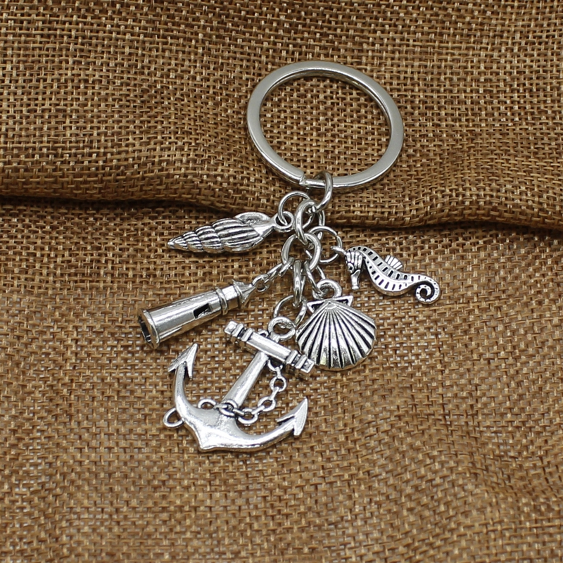 Glamour Beach Style Keychain Fish Anchor Lighthouse Shell Seahorse Charm Keychain Jewelry Gift