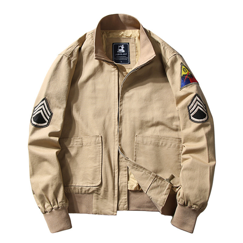 Mens Brad Pitt Vintage WW2 Fury Tanker Military Patch Bomber Cotton Jacket