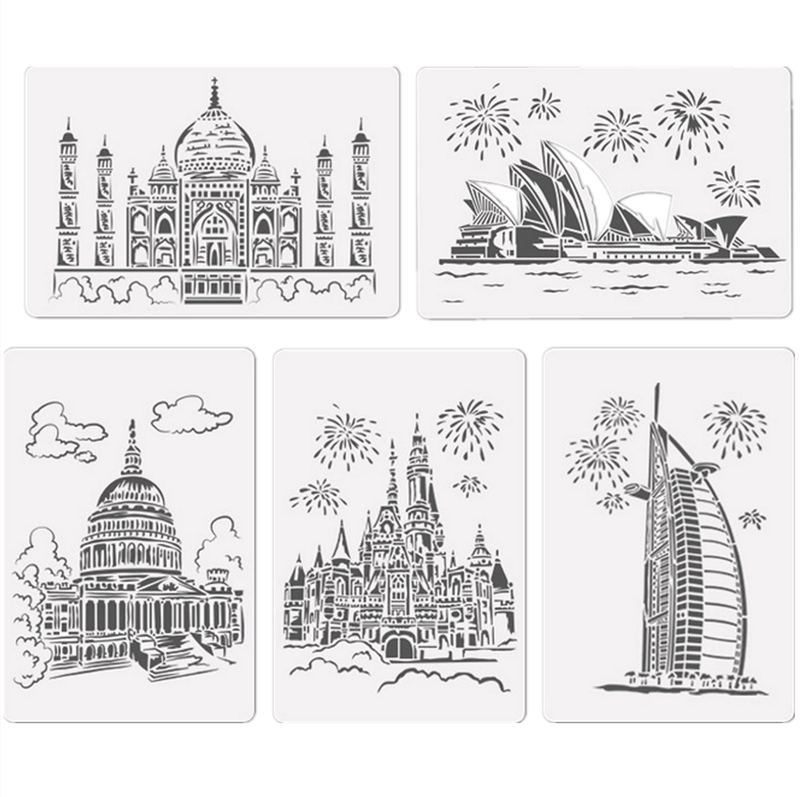 10PCS Hollow Out architectural Painting Stencils Templates for Kids Children DIY Scratching Art Craft Drawing Scrapbook Project