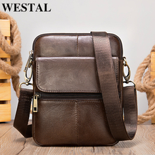 WESTAL Mini Shoulder Bag for Men Genuine Leather Messenger Bags Small Crossbody Male